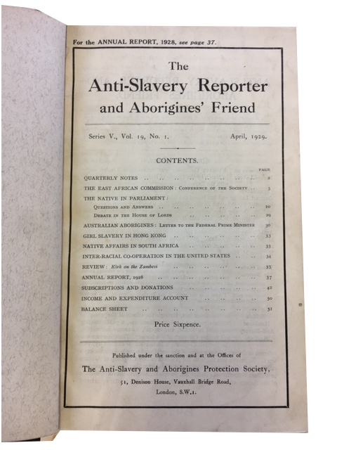 The Anti-Slavery Reporter and Aborigines' Friend, [Series 5] Vols. 19-24 (Apr. 1929 through Jan. 1935)