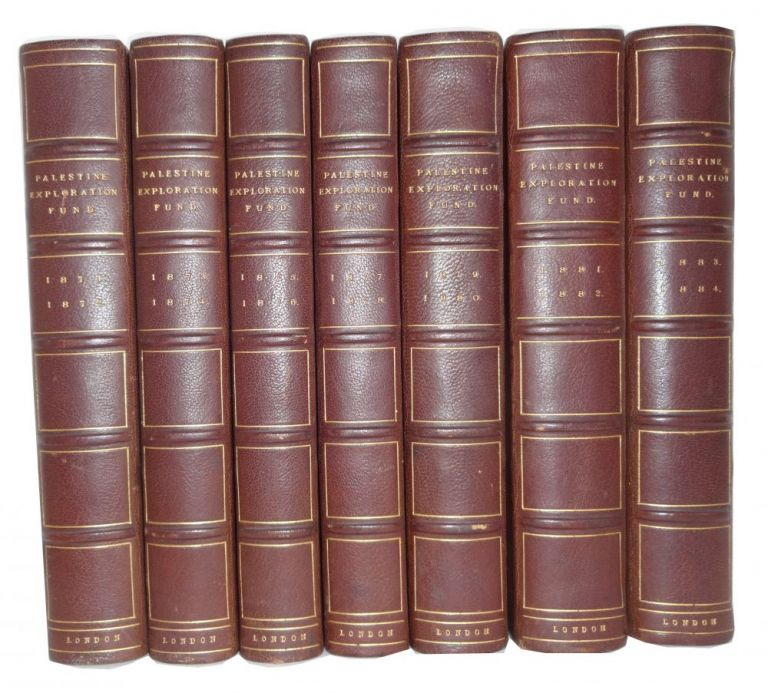 Seven bound volumes containing Quarterly Statement [for 1871-1884]. Palestine Exploration Fund.