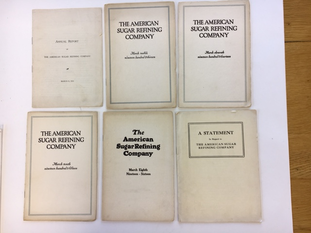 Annual Report[s] for 1910, 1911, 1913, 1914, 1915, and 1916. American Sugar Refining Company.