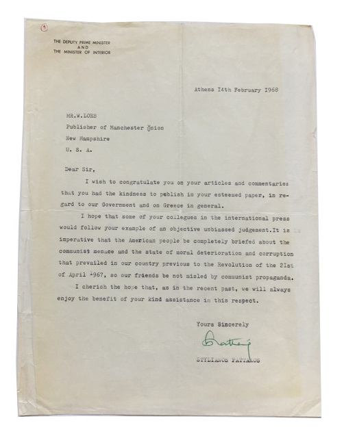 "Typed Letter, signed. Dated Feb. 14, 1968. Addressed to W. Loeb, publisher of the Manchester Union Leader. Letterhead (""The Deputy Prime Minister and the Minister of the Interior""). Stylianos Pattakos."