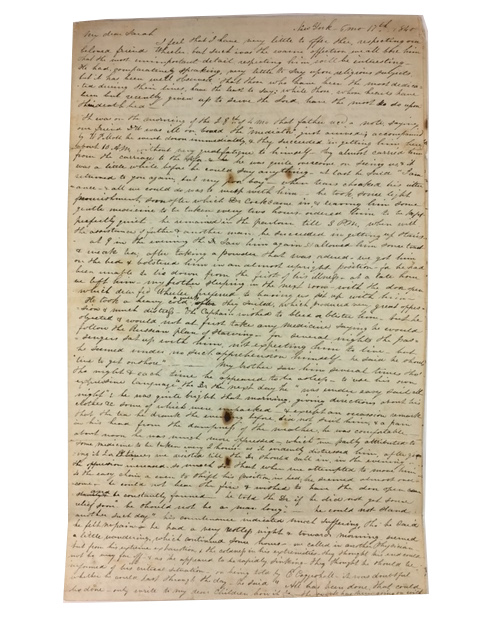 Autograph Letter Signed to Sarah Yarnall. Dated New York 6mo [June?] 17th 1840. Phoebe Clapp.