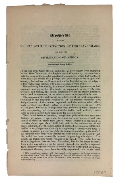 Prospectus of the Society for the Extinction of the Slave Trade and for the Civilization of Africa. Society for the Extinction of the Slave Trade, for the Civilization of Africa.