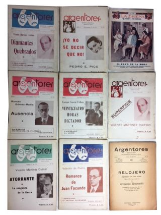 Theater in Buenos Aires. An interesting sampling (52 issues) of the small format publications relating to plays in Buenos Aires in the 1920s and 1930s: El Teatro Argentino, No. 29; Teatro Popular, Ano 3, No. 80; Seleccion Teatral, Nos. 1 (Segunda edicion) & 12; Brambalinas Revista Teatral, Nos. 79, 82, 131, 168, 176, 183, 279, 291, 502, 622 (tercera edicion), 625, 653, 656, 699, and 701; La Escena, Nos. 134, 143, 472, 546, 614, 691, 740, 756, 757, and 762; and Argentores, Nos. 6, 13, 22, 27, 28, 30, 31, 39, 46, 60, 72, 106, 117, 179, 185, 205, 215, 229, 233, 246, 249, 255, 259, and 267
