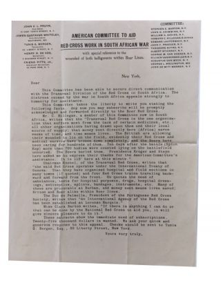 Printed Form Letter Seeking Donations for Red Cross Work among Boer War Soldiers. American...