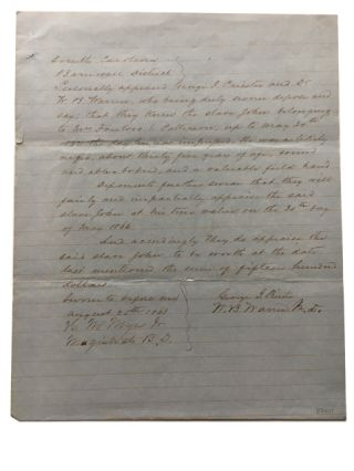 Appraisal of South Carolina Slave who had been Impressed in 1862. Slave Document
