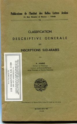 Classification Descriptive Generale des Inscriptions Sud-Arabes. Albert Jamme