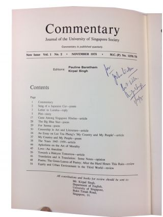 Commentary, Two issues: Vol. 1, Nol 2 (November 1975) and Vol. II, No. 1 (August 1976)
