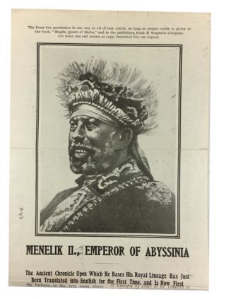 Menelik II., Emperor of Abyssinia. The Ancient Chronicle upon which He Bases His Royal Lineage...