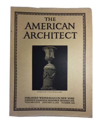 The American Architect, Volume CXVIII, No. 2300 (January 21, 1920