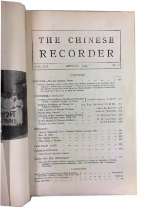 The Chinese Recorder: Journal of the Christian Movement in China, Vol. 53, No. 8 (August, 1922).