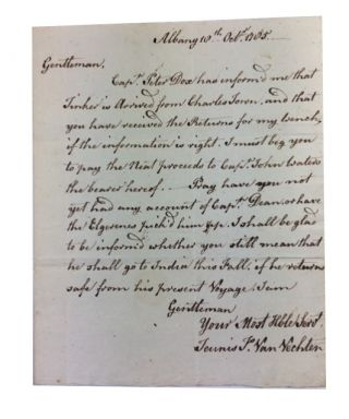 Autograph Letter Signed. Addressed to Stewart V. Jones in New York City. Dated 18th Oct., 1785 at Albany, N.Y. Teunis F. Van Vechten.