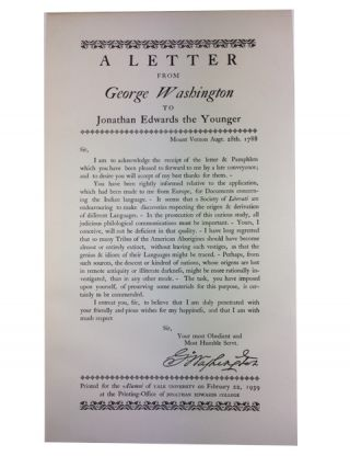 A Letter from George Washington to Jonathan Edwards the Younger