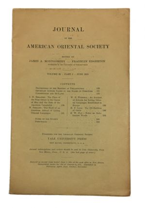 Journal of the American Oriental Society, Vol. 39, Part 3 (June, 1919