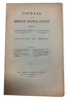 Journal of the American Oriental Society, Vol. 31, Part 1 (December 1910