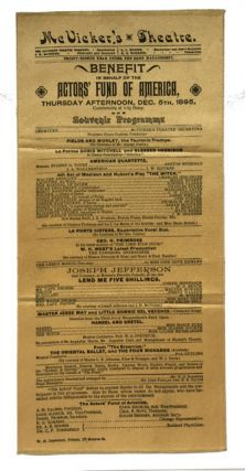 Benefit in Behalf of the Actors' Fund of America, Thursday Afternoon, Dec. 5th, 1895 ... Souvenir...